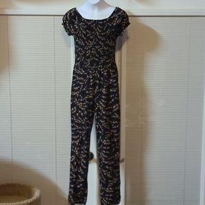 Children's Place girls black floral jumpsuit